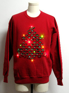 1980's Unisex Vintage Multicolor Lightup Ugly Christmas Sweatshirt