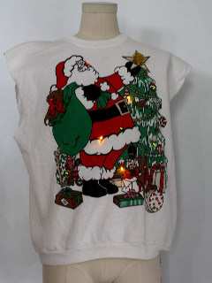 1980's Unisex White Trash Joe Dirt Style Cut-Off Multicolor Lightup Ugly Christmas Sweatshirt