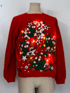 1980's Womens Multicolor Lightup Ugly Christmas Sweatshirt