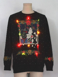 1980's Unisex Multicolor Lightup Cat-Tastic Ugly Christmas Sweatshirt