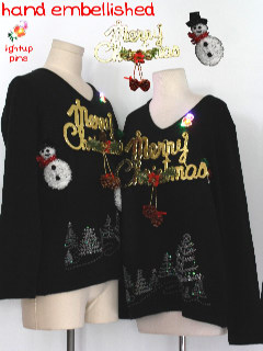 1980's Unisex Matching Set of Two Hand Embellished Ugly Christmas Sweaters