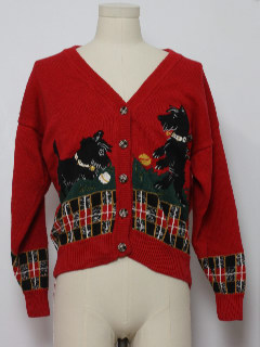 1980's Womens Dog-gonnit Ugly Christmas Cardigan Sweater