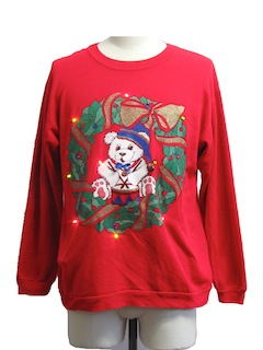 1980's Unisex Vintage Bear-riffic Multicolor Lightup Bear-riffic Ugly Christmas Sweatshirt