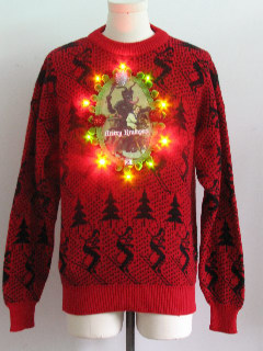 1980's Mens Vintage Multicolor Lightup Krampus Ugly Christmas Sweater