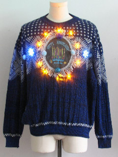 1980's Mens Amber Lightup Hanukkah Ugly Christmas Sweater