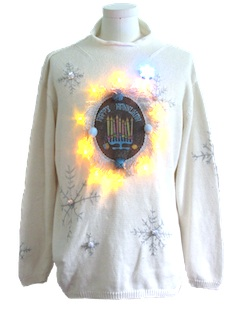 1980's Unisex Hanukkah Amber Lightup Ugly Christmas Sweater