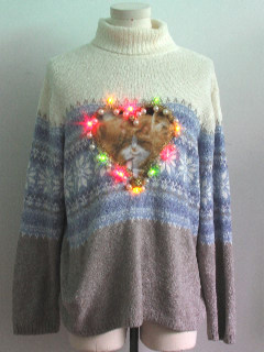1980's Unisex Multicolor Lightup Catmus Ugly Christmas Sweater