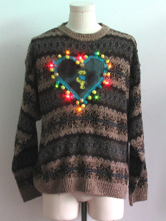 1980's Mens Multicolor Lightup Grateful Dead Ugly Christmas Sweater