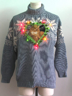1980's Unisex Multicolor Lightup Cat-Tastic Ugly Christmas Sweater