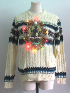 1990's Mens Multicolor Lightup Krampus Ugly Christmas Sweater