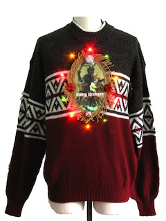 1980's Womens Multicolor Lightup Krampus Ugly Christmas Sweater