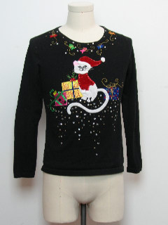 1980's Womens/Girls Cat-Tastic Ugly Christmas Sweater