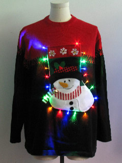 1980's Unisex Multicolor Lightup Hand Embellished Ugly Christmas Sweater