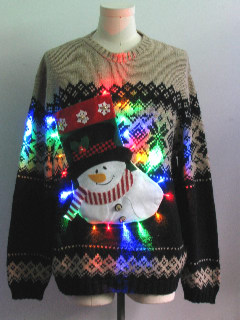 1980's Mens Multicolor Lightup Hand Embellished Ugly Christmas Vintage Sweater