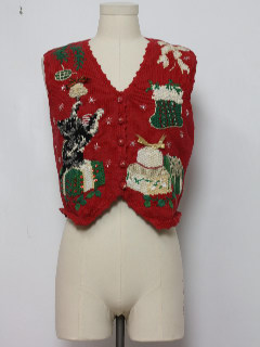 1980's Womens Cat-tastic Ugly Christmas Sweater Vest