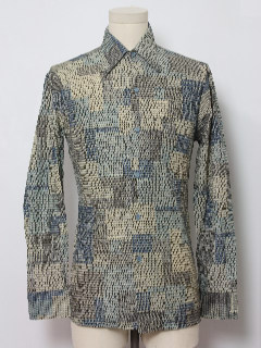 1970's Mens or Boys Print Disco Shirt