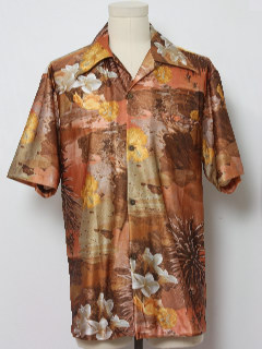 1970's Mens Hawaiian Style Photo Print Disco Shirt