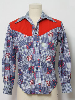 1970's Mens or Boys Western Style Shirt