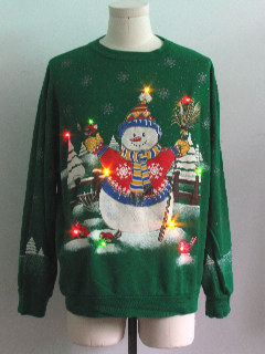 1980's Unisex Multicolor Lightup Ugly Christmas Sweatshirt