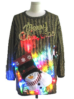 1980's Unisex Multicolor Lightup Hand Embellished Ugly Christmas Cocktail Sweater