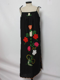 1980's Womens Embroidered Maxi Hippie Dress