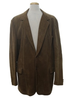 1980's Mens Leather Blazer Sport Coat Jacket