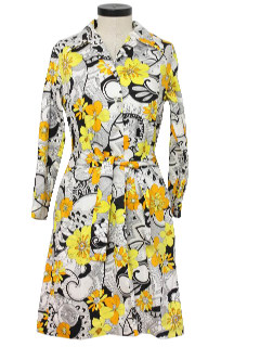 1960's Womens Flower Power Dress