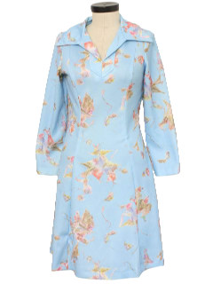 1970's Womens Floral Print Polyester Dress