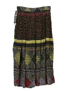 1980's Womens Hippie Style Broomstick Skirt