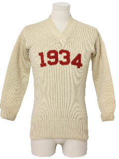 1930's Mens Letterman Style Sweater