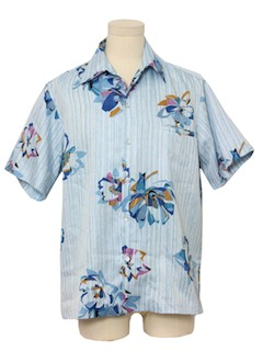 1970's Mens Hawaiian Inspired Print Disco Shirt