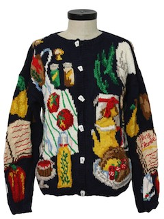 1970's Womens Kitchy Cardigan Sweater
