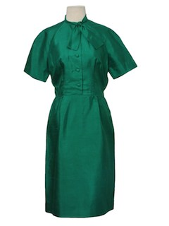 1960's Womens New Look Silk Jackie O Style Cocktail Dress