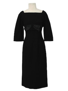 1950's Womens Wiggle Style Little Black Cocktail Dress