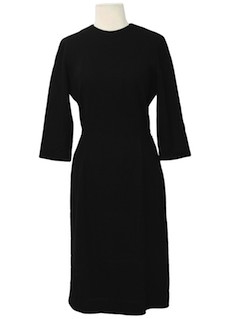 1960's Womens Little Black Wool Dress