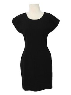 1980's Womens Totally 80s Little Black Wool Dress