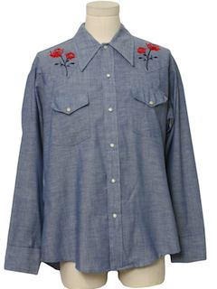 1970's Mens Chambray Western Shirt