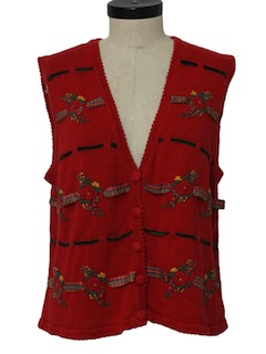 1980's Womens Cheesy Kitschy Sweater Vest