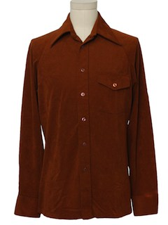 1970's Mens Mod Velour Shirt