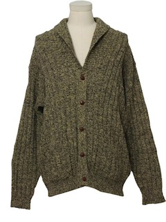 1980's Mens Fisherman Style Cardigan Sweater