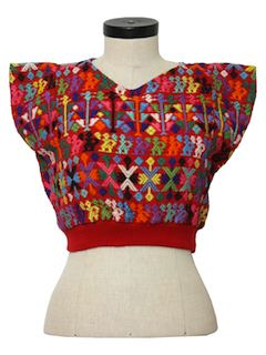 1980's Womens Cropped Hippie Sweater Shirt
