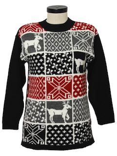 1980's Womens Totally 80s Reindeer Ski Sweater