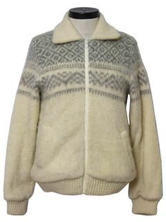 1970's Womens Snowflake Wool Sweater Jacket