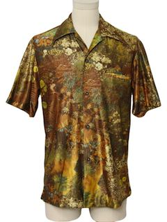 1970's Mens Photo Print Hawaiian Inspired Disco Shirt