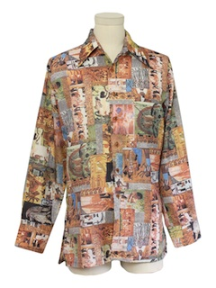1970's Mens Photoprint Disco Shirt