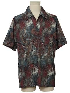 1970's Mens Print Resort Wear Style Disco Shirt