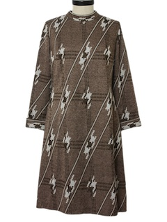 1960's Womens Print Knit Dress