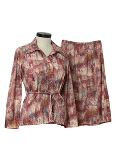 1970's Womens Print Disco Skirt Suit