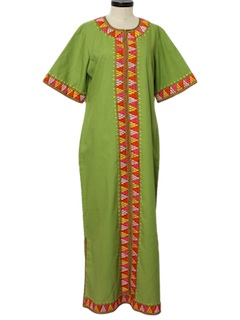1970's Womens Embroidered Hippie Maxi Dress