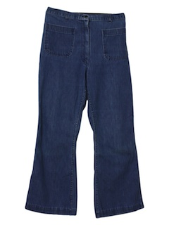 1970's Womens Navy Bellbottom Jeans Pants